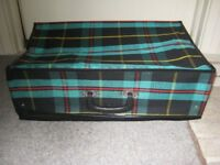 Brand New Tartan Fabric Lightweight Collapsible Suitcase