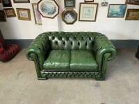 Superb green leather chesterfield 2 seater sofa UK delivery