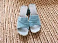 Next Women's size 6.5 blue suede wedge shoes