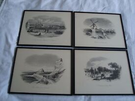 4 RARE ANTIQUE AUSTRALIAN PRINTS FROM COPPER ENGRAVINGS BY F.C.TERRY (1825 - 1869)