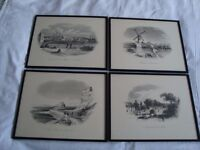 4 VERY RARE ANTIQUE AUSTRALIAN FRAMED ENGRAVINGS BY F.C.TERRY (1825 - 1869)