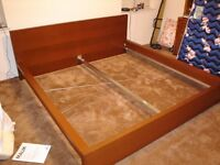 IKEA BROWN MALM DOUBLE BED NO MATTRESS FREE DELIVERY