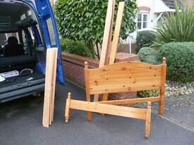 Solid pine small double bed frame, 4'' wide