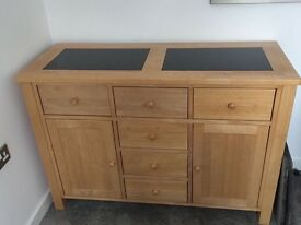 Solid Beech & Polished Granite Side Board