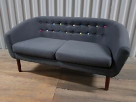 Charcoal Grey Fabric Scandi-Style Sofa with Wooden Legs & Multicoloured Buttons