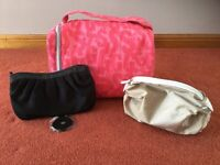 Large Soap & Glory Toilet Bag, Gold Coloured Cosmetics Bag & Black Evening Bag - All NEW & UNUSED