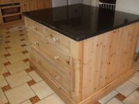 Pine Kitchen units with granite worktops