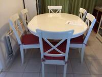 Ikea Ingatorp/Liatorp Table and 6 Chairs with chair pads.