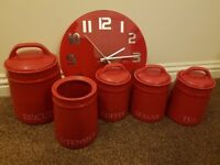 Kitchen accessories - canisters, dishes, mugs, clock