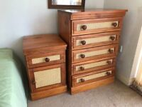 2 Bedside Cabinets + 2 five Drawer Chest