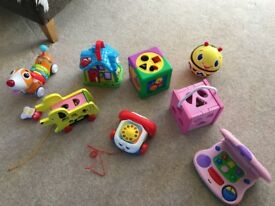 *TOY BUNDLE* Wooden Shape Sorters/Kids Play Laptop/ Remote Control Dog/ Fisherprice Telephone + more
