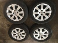 Set of 4 Vauxhall Astra 15 inch alloy wheels with 4 very good 195/65/15 tyres