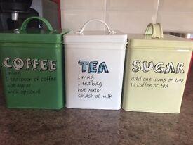 Kitchen tea coffee and sugar set