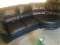 Black real leather 2 piece suite corner sofa and snuggle chair/swivel chair