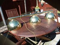 OVERHEAD POOL/SNOOKER TABLE LIGHTS, TRIO, BRASS, ALL ELECTRICS, GOOD CONDITION,£20, CAN DELIVER
