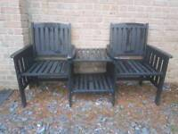 Garden wooden chair bench set