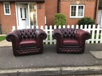 2 x Thomas Lloyd Chesterfield Club Chair Sofas in Oxblood Red Leather