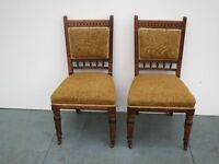 Pair of Antique Oak with Fabric Based Chairs