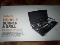 BNIB double gas burner and grill.