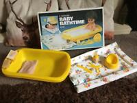 70s Vintage baby doll bath changing mat play set ~ boxed