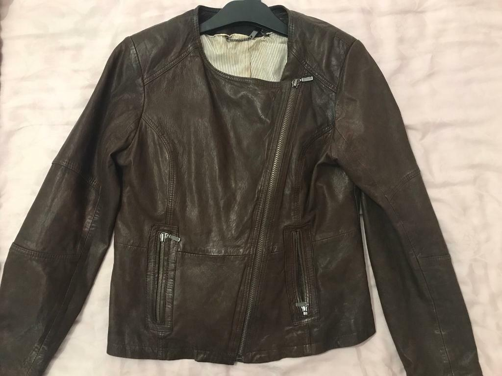 Ladies marks and spencer brown leather jacket size 12
