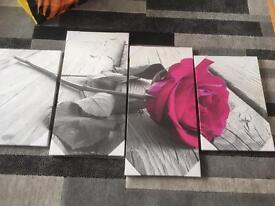 Rose canvas wall art 4 part NEW