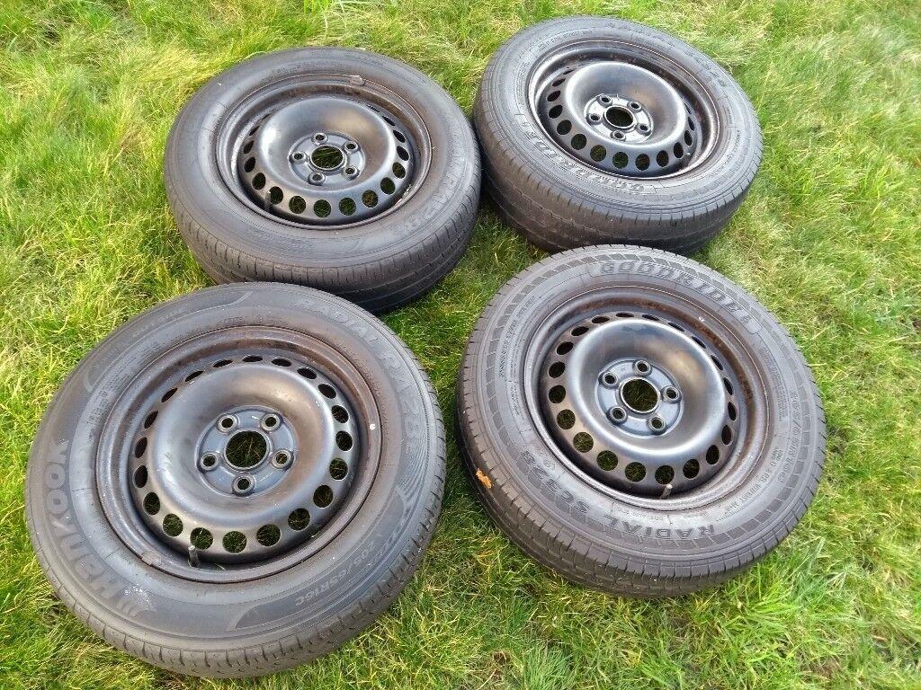 VW T5 black steel wheels with tyres
