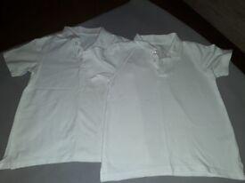 2 White Polo Shirts Size 7-8 yrs