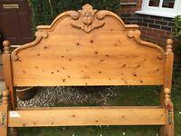 Lovely detailed antique pine bed frame