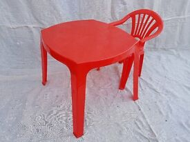 Plastic Chair and Table for Young Children (Red)