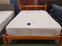 Pine double bed frame with top quality used mattress