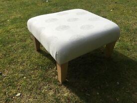 Reupholstered Footstool In John Lewis Cream Fabric