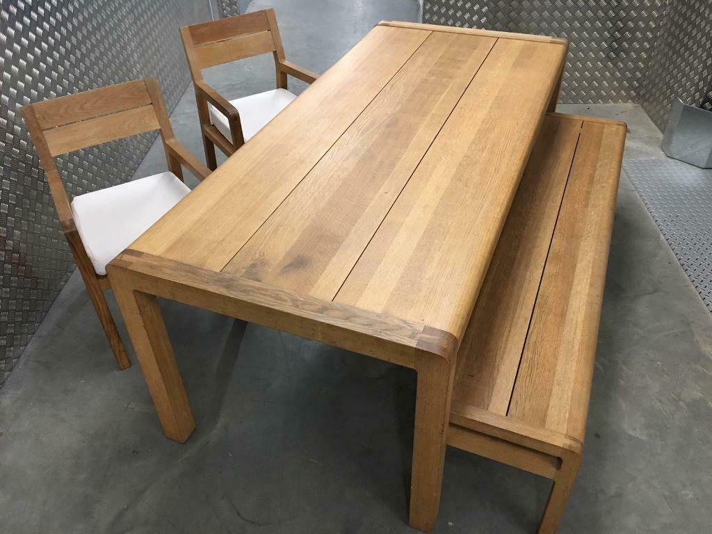 Habitat Radius Large Kitchen Dining Room Table Bench 2x Chairs Laura Ashley John Lewis Loaf Oka