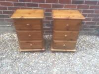 Solid chunky pine bedside tables. Dovetail Joints