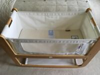 Snuzpod 3 in 1 bedside crib in natural with mattress and other extras