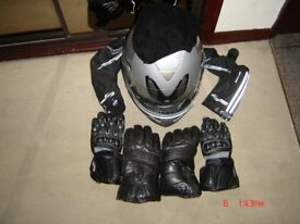 Motorcycle clothing, helmet, gloves and boots