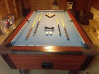 Pub size pool table with balls, cues, rest, bridge, brush. Slate bed height adjustable feet