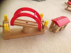 Wooden train track bridge plus shed