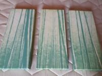 3 X PICTURE PRINTS WOODEN FRAMES GREEN FOREST SCENE