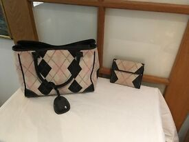 Pringle leather and fabric handbag with wallet. Used sparingly .
