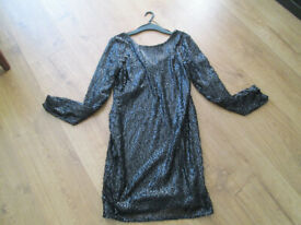 LADIES BRAND NEW WITH TAGS BLACK SEQUINED PARTY DRESS - SIZE 12