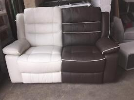 2 Seater Brown/Cream Leather Recliner