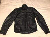 Armoured leather black motorbike jacket.