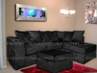 BRAND NEW DYLAN CHICAGO CRUSHED VELVET SILVER CORNER SOFA 3 and 2 SEATER SOFA IN DIFFERENT COLOURS