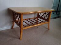 Cane Table with solid top - for lounge or conservatory - Elmswell