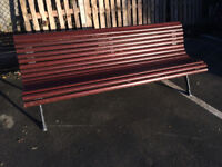 8 x Solid wooden park bench with cast iron legs commercially made by Benito £150 each