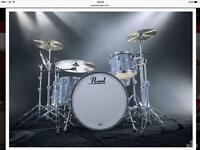 Pearl Reference & Zildjian cymbal complete drum set up