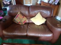 FREE. Lovely brown leather suite.