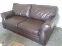 Brown leather sofas. 2 and 3 seater