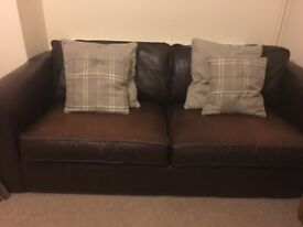 Thomas Lloyd brown leather sofa and matching chair